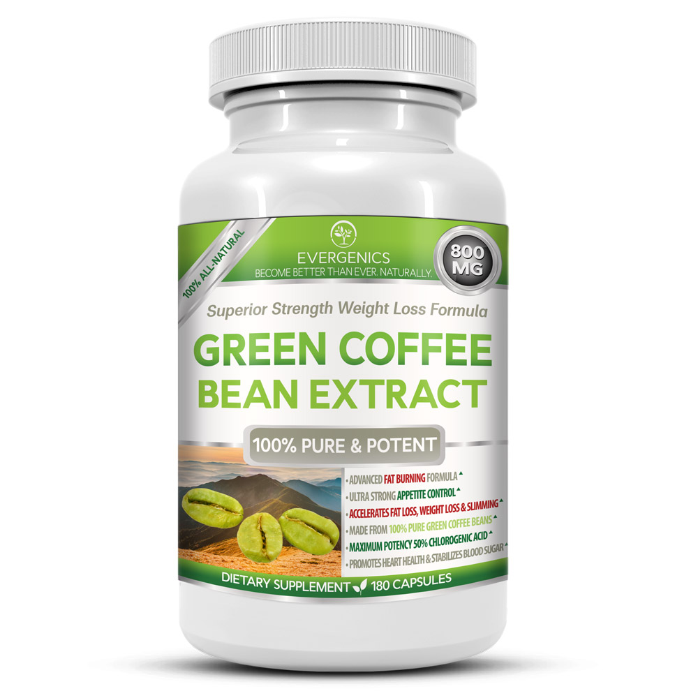 Evergenics Green Coffee Bean Extract Weight Loss Formula Superior Strength 180 Capsules 3 Month Supply