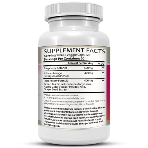 Raspberry Ketones Supreme Weight Loss Formula Bottle Facts Details